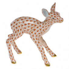 Herend Porcelain Fishnet Figurine of a Fawn